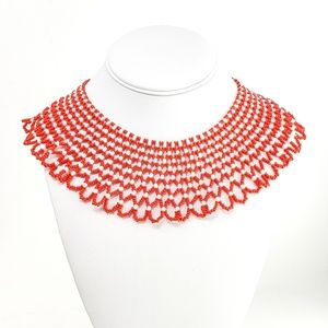 Handcrafted Red & White Beaded Collar Necklace
